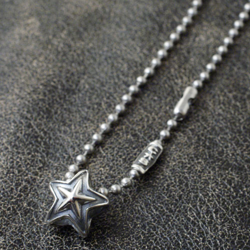 Cody Sanderson TINY DOUBLE FACE STAR STAINLESS BALLCHAIN NECKLACE