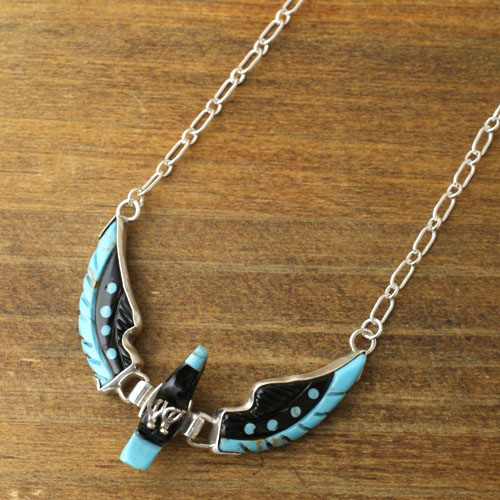 BEN LIVINGSTON Navajo Jet&Turquoise Eagle Necklace