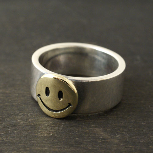 Atease SMILE SILVER & BRASS RING L