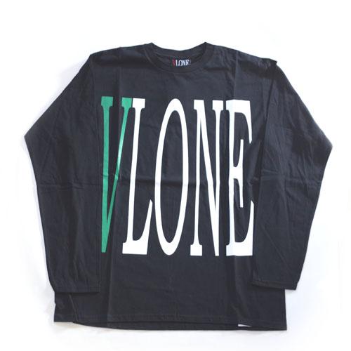 VLONE・LOGO・LS-TEE・Black×Green・Kanye West・flagment design・OFF WHITE