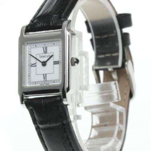 ティファニー・スクエア型クォーツ・腕時計新品ブラックベルト