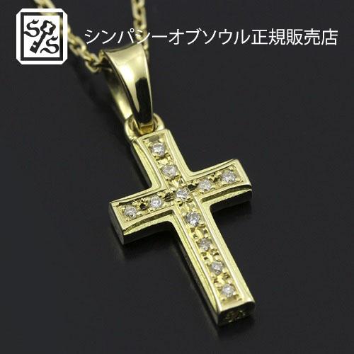 SYMPATHY OF SOUL Small Gravity Cross Necklace - K18 Yellow Gold w/Diamond