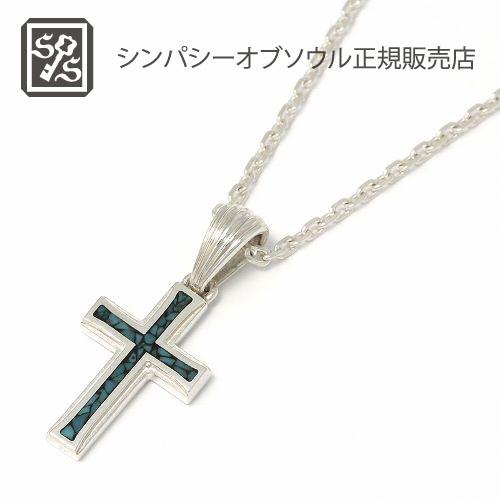 シンパシーオブソウル・スモールグラビティークロスインレイネックレス・シルバー・LEON(レオン)掲載アイテム SYMPATHY OF SOUL Small Gravity Cross Inlay Necklace - Silver