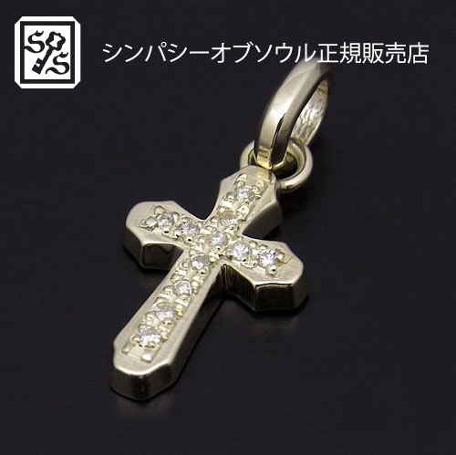 SYMPATHY OF SOUL Smooth Cross Pendant - K10 Yellow Gold w/Diamond