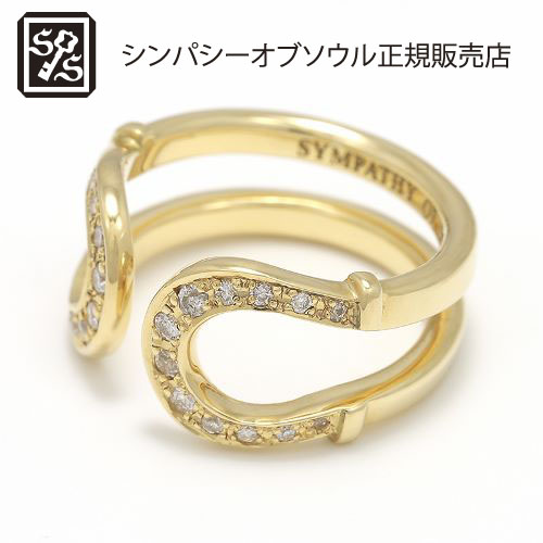 SYMPATHY OF SOUL Double Horseshoe Ring - K18Yellow Gold w/Diamond