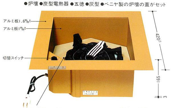 お金を節約 市場 コードが見えない 送料無料 聚楽色炉壇切替スイッチ付 L801電熱器付