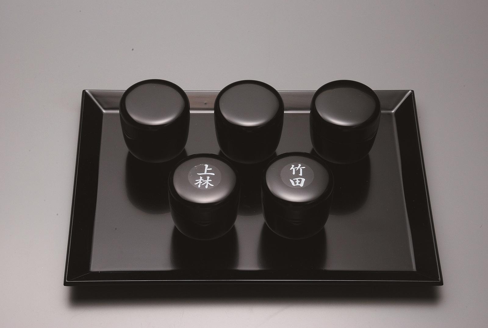 茶歌舞伎棗 黒真塗 木製 5個入(シール付)