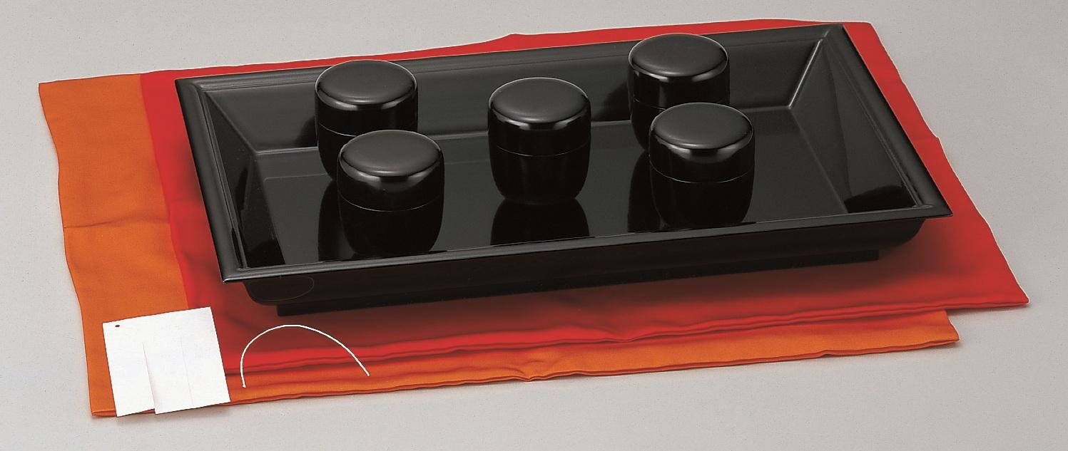 茶歌舞伎盆セット 赤[名乗札・帛紗・茶歌舞伎盆 木製]付