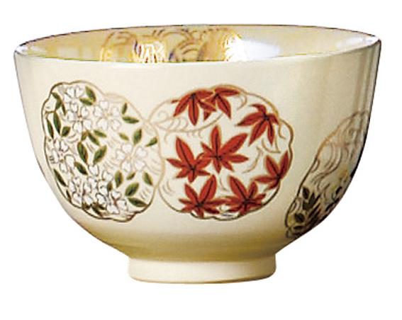 物品 学校茶道 初心者などのお稽古用に 茶道具 色絵茶碗花丸 抹茶茶碗おけいこ用 信頼