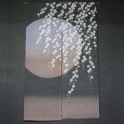 麻のれん『桜月夜』(和風のれん)【暖簾/春/さくら、サクラ/月】【送料無料】