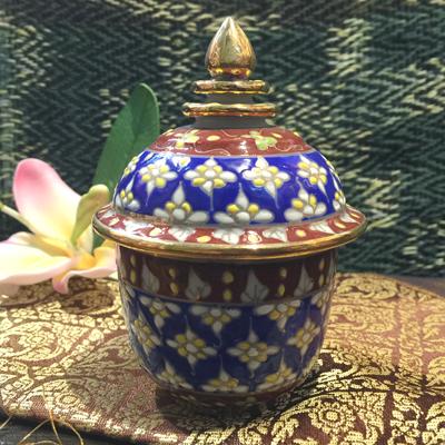 大注目 タイ製の壺です ベンジャロン焼き 優先配送 青 壺 青系壺陶器タイ料理アジアン料理タイ雑貨