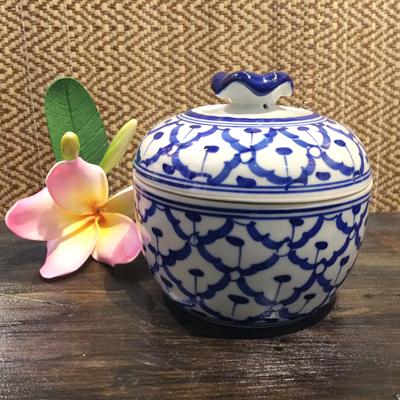 限定タイムセール パイナップル柄の陶器のスープカップ 11cmです スープカップ 超人気 陶器カップタイ料理アジアン料理タイ雑貨 青白陶器青白食器パイナップル柄 11cm