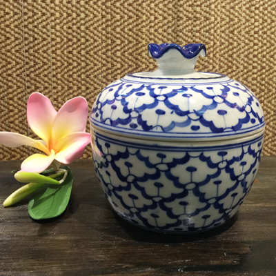 限定モデル パイナップル柄の陶器のスープカップ 13cmです スープカップ 陶器カップタイ料理アジアン料理タイ雑貨 青白陶器青白食器パイナップル柄 13cm 時間指定不可