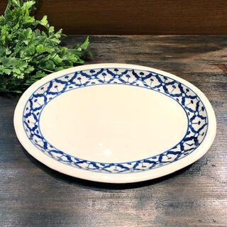 パイナップル柄の陶器のお皿 楕円サイズ26.5cmです 楕円平皿 青白食器パイナップル柄陶器 2020秋冬新作 平皿タイ料理アジアン料理タイ雑貨 未使用品 26.5cm