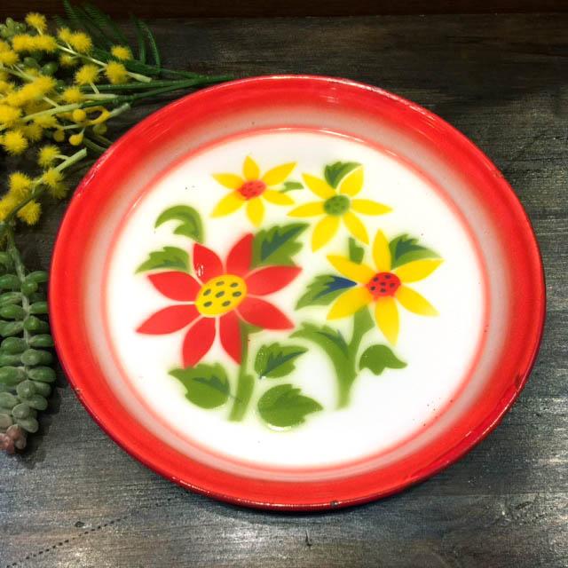 タイ製 ホーロー平皿 25cm Aタイプ !超美品再入荷品質至上! ホーロー平皿:25cm A:25cm 入手困難 陶器 エスニック料理タイ雑貨 華やかな花柄 アジアン雑貨食器 皿タイ料理