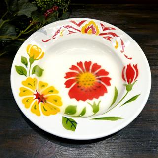タイ製 ホーローの平皿 20cm Bタイプ ホーロー平皿:20cm B:平皿20cm 陶器 華やかな花柄 大人気 OUTLET SALE エスニック料理タイ雑貨 皿タイ料理 アジアン雑貨食器