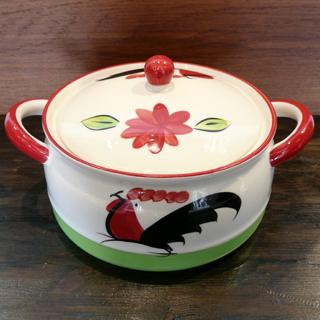 タイの食堂や屋台でお馴染み にわとり柄 の陶器鍋20cmです にわとり陶器にわとり食器にわとり柄タイ料理アジアン料理タイ雑貨 保障 年中無休 陶器鍋 20cm