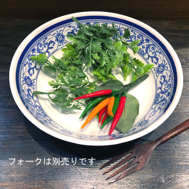 タイでお馴染みメラミン食器 深皿 宅配便送料無料 買い取り 21cmです メラミン食器 JADA どんぶり青白食器タイ製タイ料理アジアン料理タイ雑貨 B926-8.5 取り皿 21cm プラスティックお椀