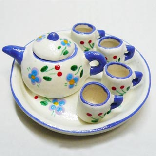 ミニチュア ポット マグカップセットです マグカップ 出荷 マグカップミニチュア雑貨タイ雑貨アジアン雑貨 花柄 青白系 定番