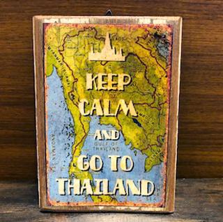 マーケット タイ製 古看板 セール タイランド 14×18cm 木製看板アンティーク仕様サイン看板タイ雑貨 小サイズ