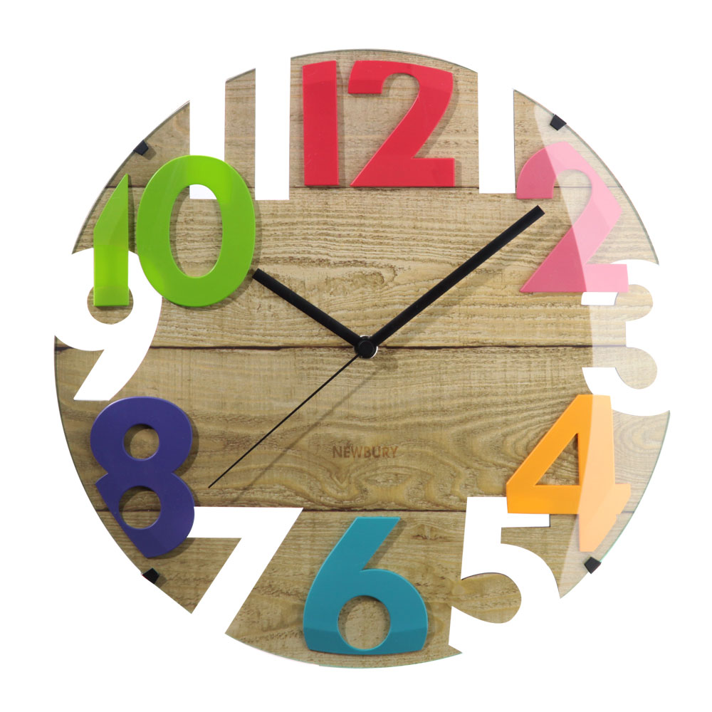 時計 電波時計 掛け時計 送料無料 アナログ 壁掛け クロック 掛時計 壁掛け時計 壁掛時計 文字盤 木目調 丸型 ドームガラス リビング 贈り物 祝 ナチュラル ブラウン かわいい カラフル おしゃれ