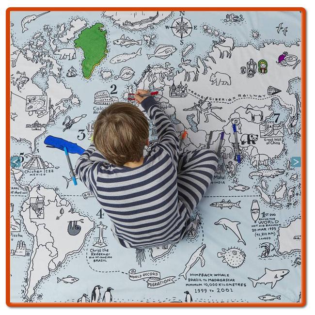 世界地図のベットカバー シングル お絵かき 布団カバー eatsleepdoodle 英国からお子様ベット ふとんカバー england duvet