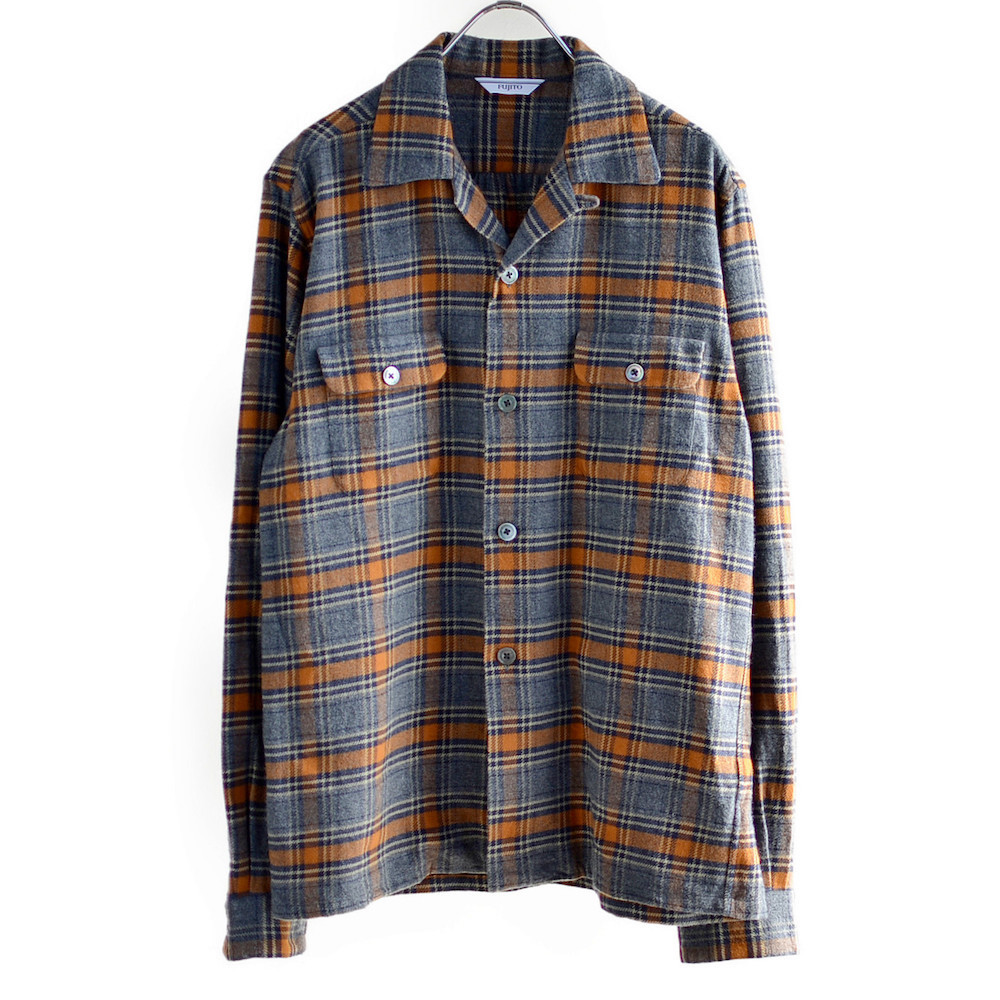 FUJITO(フジト) チェック柄オープンカラーシャツ