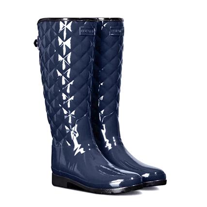 HUNTER(ハンター) リファインド グロス キルテッド トール (REFINED GLOSS QUILT TALL/WFT1031RGL) Navy
