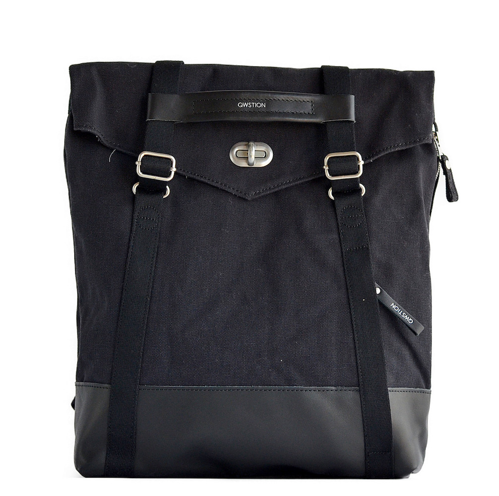 QWSTION(クエスション) 2way TOTE BLACK LEATHER CANVAS