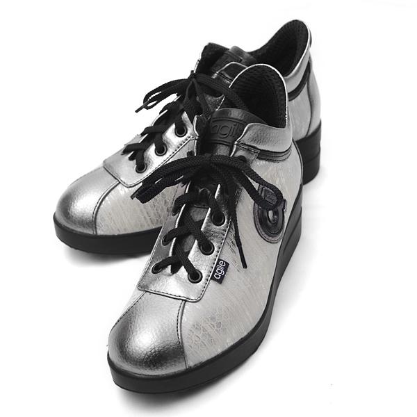 ルコライン アウトレット アージレ バイ ルコライン 靴 スニーカー agile-185/514SI サイドファスナー付 MEDUSA ZONE 合皮 ヘビ型押し×シルバー ホワイト 銀色 白 agile by RUCO LINE サイズ交換不可・返品不可