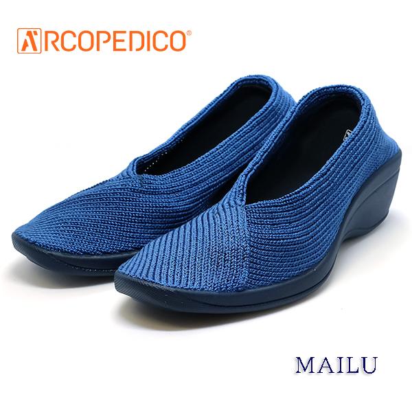 アルコペディコ 靴 ARCOPEDICO MAILU マイル デニム色 ブルー エリオさんの靴 クラシックライン ニットアッパー 4.5cmヒール ポルトガル製 [サイズ交換・返品の送料はお客様負担です]:ジュエリーブティック京都