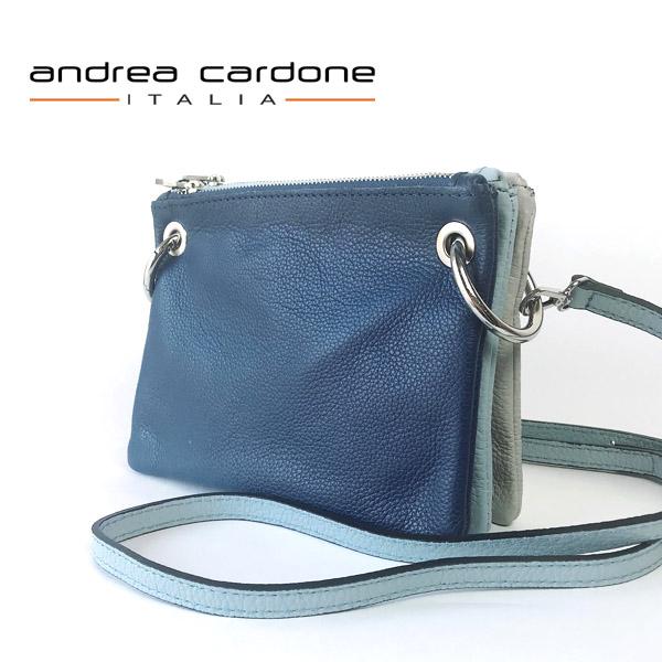 イタリア製 レディース バッグ andrea cardone ITALIA レザー 3bags ring ショルダーバッグ 3カラー 組み合わせ 自由自在 ネイビー/ スカイブルー/ ライトグレー 本革 BAG アンドレア カルドーネ MADE IN ITALY GENUINE LEATHER