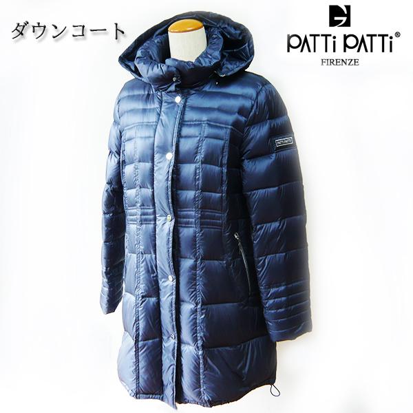 PATTi PATTi ダウンコート パティパティ コート Lサイズ ネイビー デザイナー パトリシア グッチ ハーフコート 前開きファスナー スナップ留め フード 取り外し可 裏地ロゴプリント軽量 発熱ダウン 暖かい 肌触りなめらか