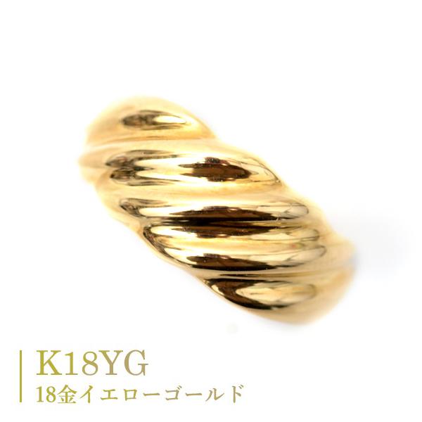 18金 リング 指輪 k18リング 絆 ふっくら 優しい 丸みのある デザインリング カップル ペアリングにもおすすめ 中指用 人差し指 指輪 K18 イエローゴールド 記念日 薬指用 【楽ギフ_メッセ入力】