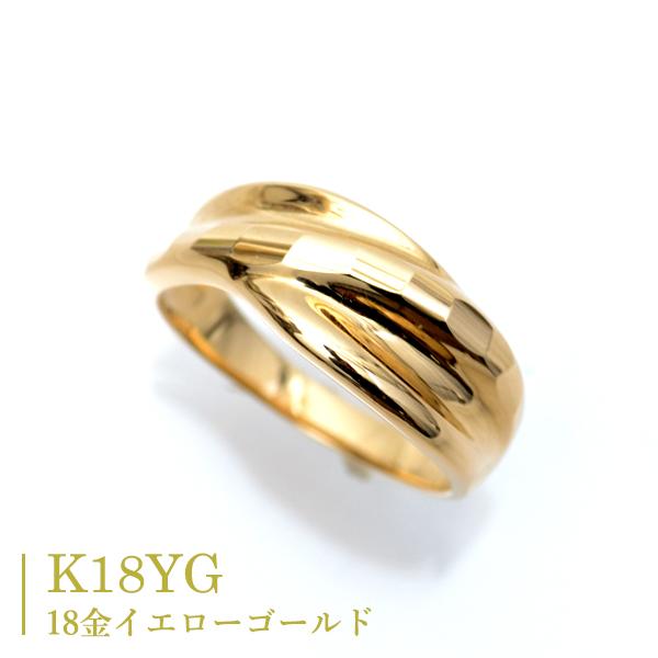 18金 リング 指輪 イエローゴールド キラキラ 多面 カットリング ウエーブ デザインリング K18 リング カップル ペアリングにもおすすめ 中指用 人差し指 指輪 K18 Ring 記念日 薬指用 【楽ギフ_メッセ入力】