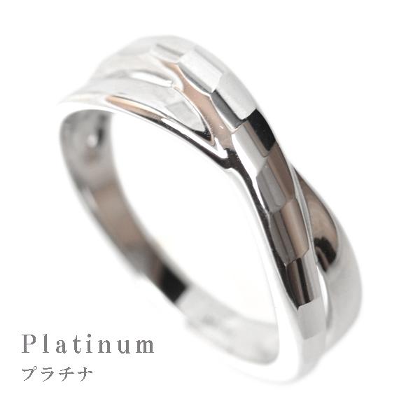 プラチナ リング 指輪 デザインリング レディース 多面カット ウェーブライン 2連調 デザインリング カップル ペアリングにもおすすめ 中指用 人差し指 指輪 Pt900 記念日 薬指用