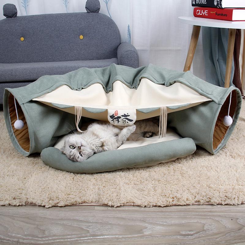 ねこトンネル 猫ハウス 2WAY キャットトンネル 猫ベッドキャット 両用 おもちゃ キャンバス ペット用品 運動不足対策半月型 抹茶