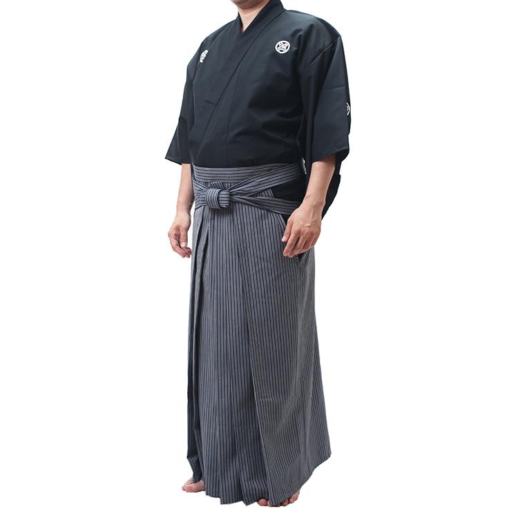 バイオクリーン「清(さやか)」居合道衣 紋付用着物袖+京都西陣仕立最高級縞袴セット【高級 居合道着 セット】