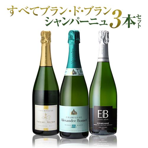 【送料無料】すべてブラン・ド・ブラン!特選シャンパン3本セット 第3弾[シャンパーニュ][シャンパン セット][プレゼント][記念日][祝い]