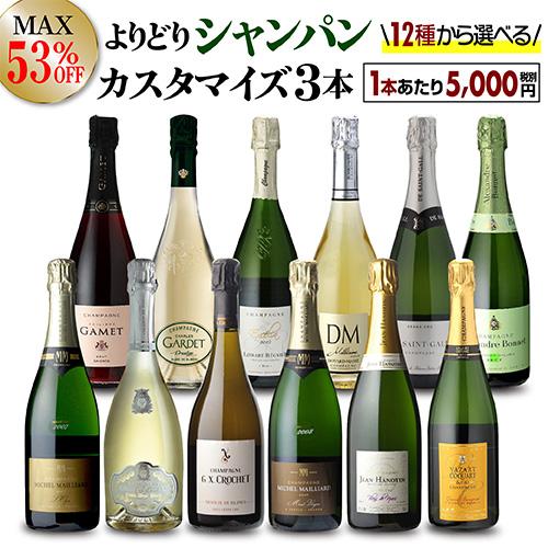 【送料無料】最大53%オフシャンパン よりどり3本 カスタマイズ セットワインセット 15,000円均一 シャンパーニュ セット シャンパンセット 飲み比べ 虎
