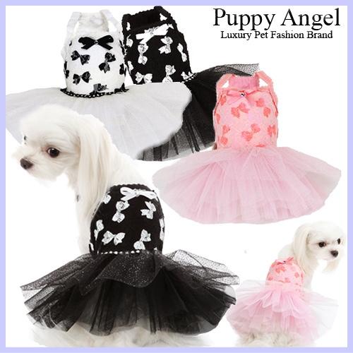 愛犬用 新作 公式ストア PUPPYANGEL パピーエンジェルのラグジュアリーなチュチュドレス White 新作入荷 Dress 送料無料 Ribbon PA-DR122