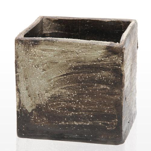 手作り山野草鉢 益子焼 彩 SAI 角 粗目 格安 お気にいる 関東当日便 盆栽鉢 白 18×18×18cm 鉢底穴あり