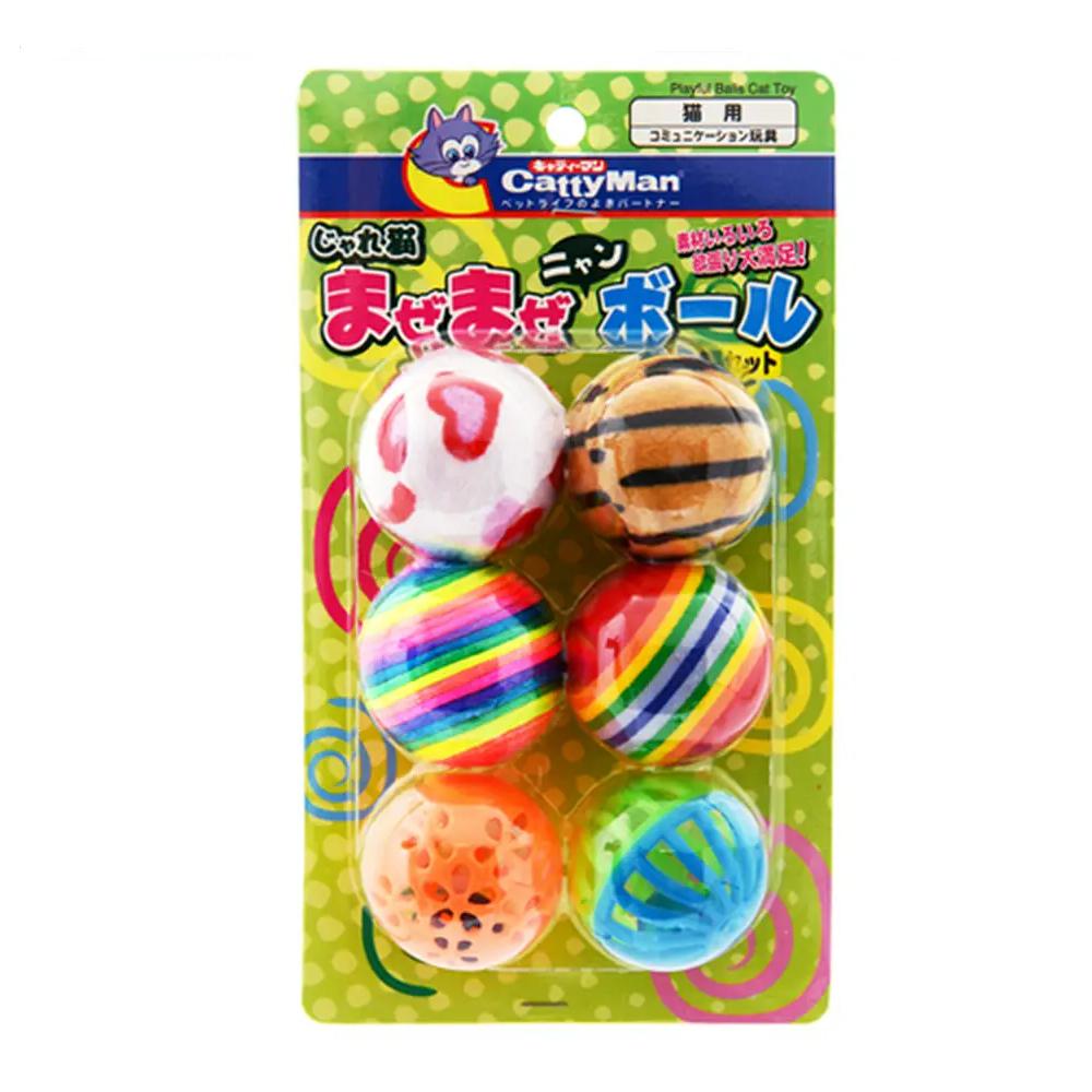 ショッピング 超目玉 キャティーマン じゃれ猫 まぜまぜニャンボール 6個セット ボール 猫 関東当日便 猫用おもちゃ
