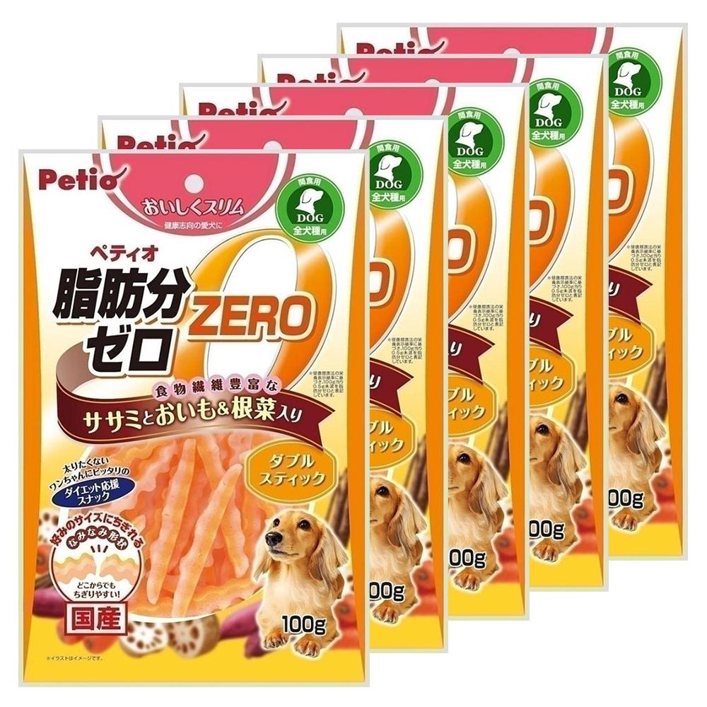 消費期限 2022 06 30 ペティオ おいしくスリム 脂肪分ゼロ ダブルスティック 大人気! 100g 根菜入り 5袋入り おやつ ササミとおいも 犬 ささみ 関東当日便 日本最大級の品揃え