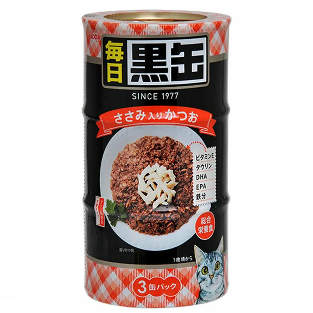 消費期限 2024 03 01 アイシア 黒缶 ささみ入りかつお キャットフード 激安 関東当日便 数量は多 160g×3缶 毎日