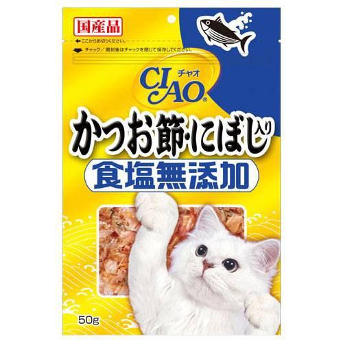 人気ブランド 消費期限 2022 08 14 早割クーポン いなば CIAO チャオ かつお節 キャットフード 食塩無添加 50g にぼし入り 関東当日便