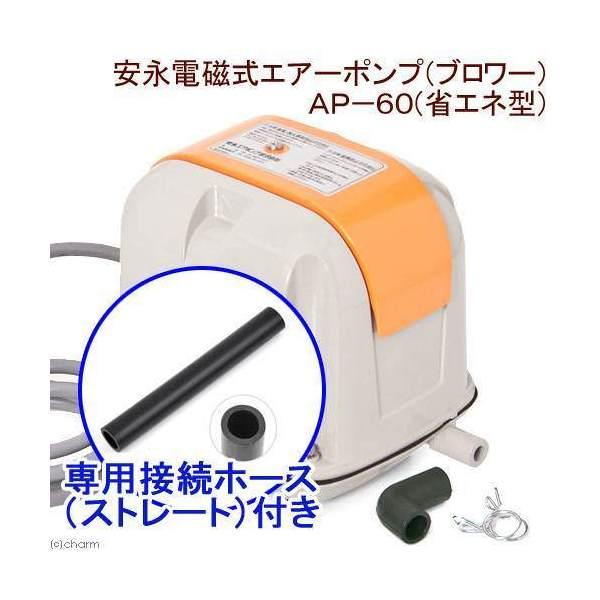 安永電磁式エアーポンプ(ブロワー) AP-60F(省エネ型) 120cm以上水槽用 + 接続ホース(ストレート) 沖縄別途送料 関東当日便