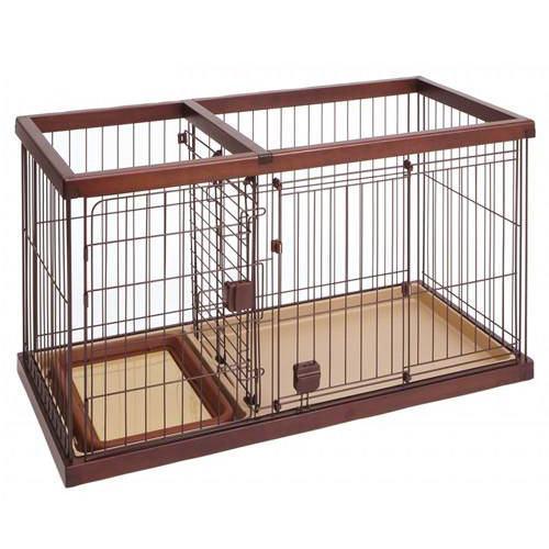 同梱不可・中型便手数料 ペティオ トイレのしつけが出来る ドッグルームサークル ブラウン スモール 犬 超小型犬 ケージ 才数200