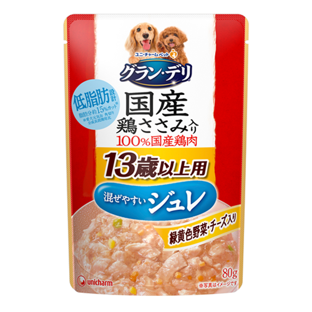 消費期限 2022 07 31 グラン デリ 国産鶏ささみ入り 関東当日便 日本 パウチ ジュレ 80g タイムセール チーズ入り 13歳以上用 緑黄色野菜