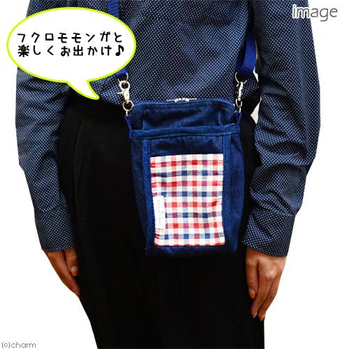 L・I・P フクロモモンガポーチ チェック レッド×ネイビー(チェック) 関東当日便